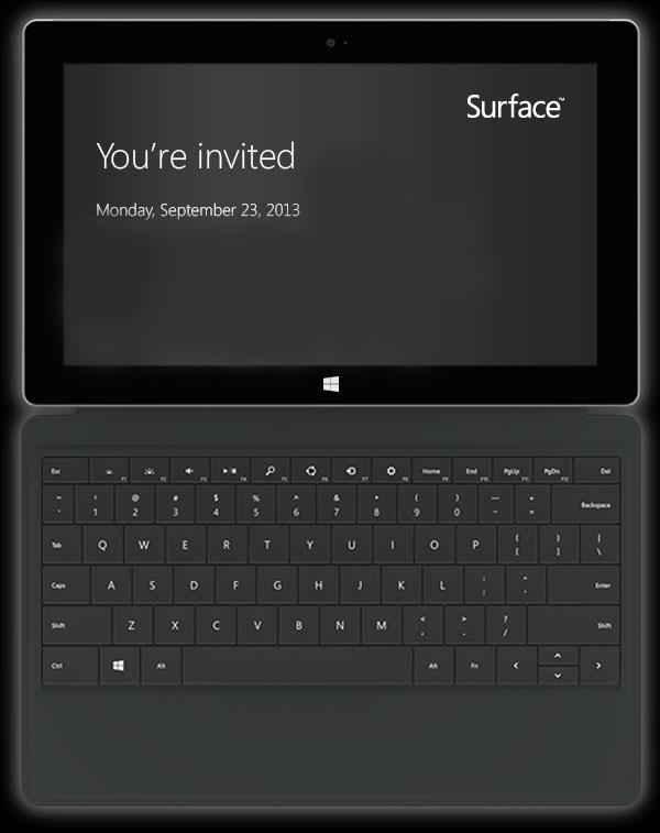 Invitation pour l'événement Microsoft (Surface)
