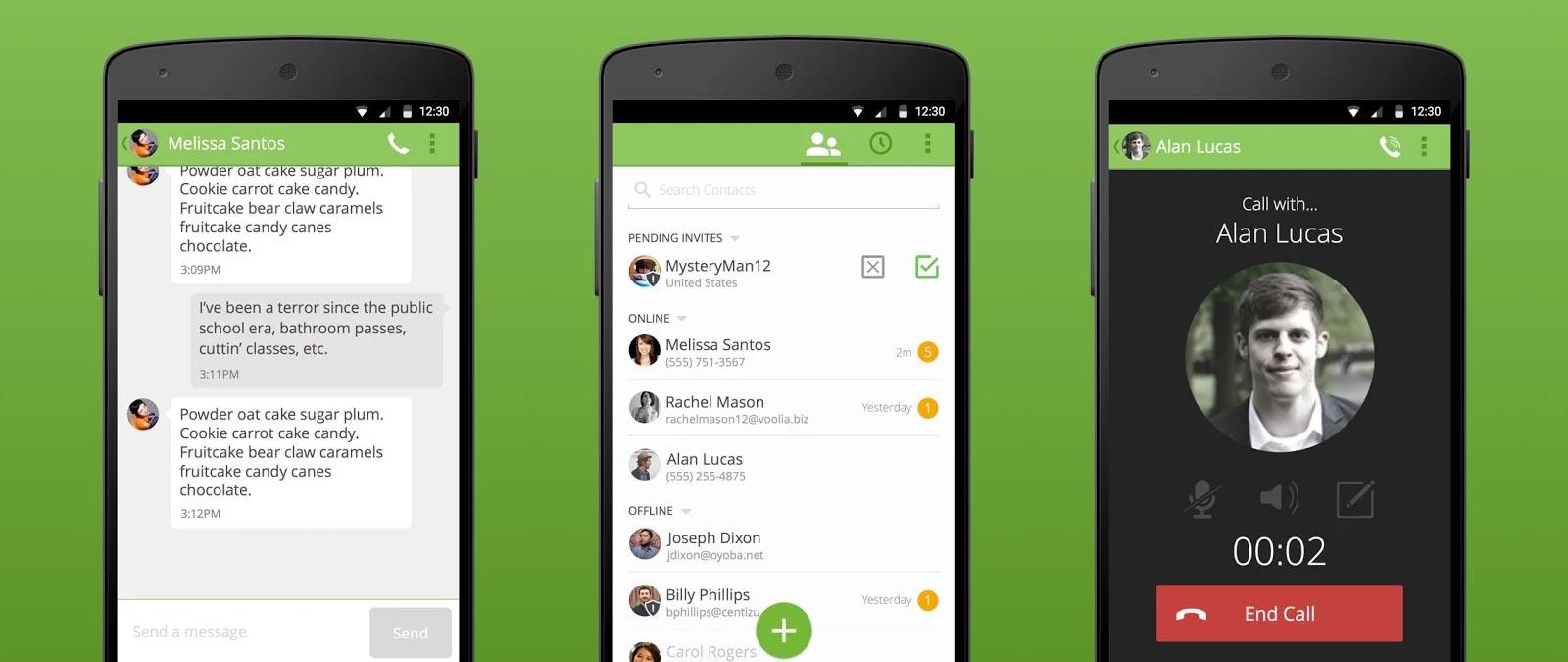 Un aperçu de Bleep sur Android.