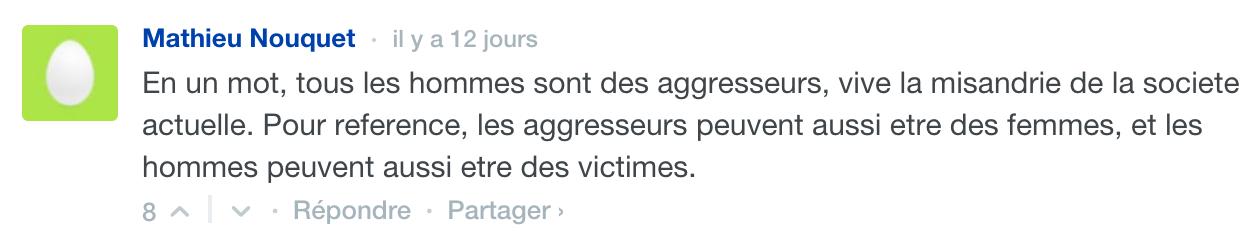 """Un peu comme Foglia qui parlait de """"chasse à l'homme"""", c'est de la misandrie que ce commentateur voit dans #AgressionNonDénoncée."""
