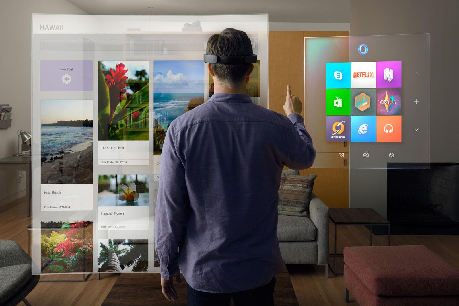 Un aperçu de l'expérience que promet l'HoloLens de Microsoft (Image : Microsoft).