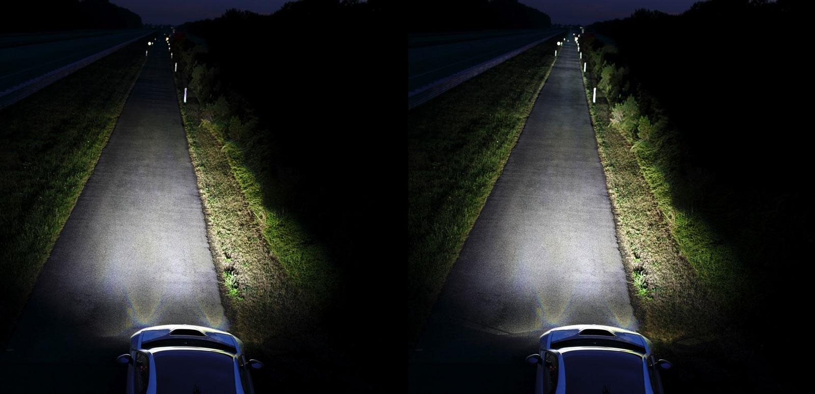 Comparaison entre les feux de croisement et les Laserlights, des feux de route développés par BMW.