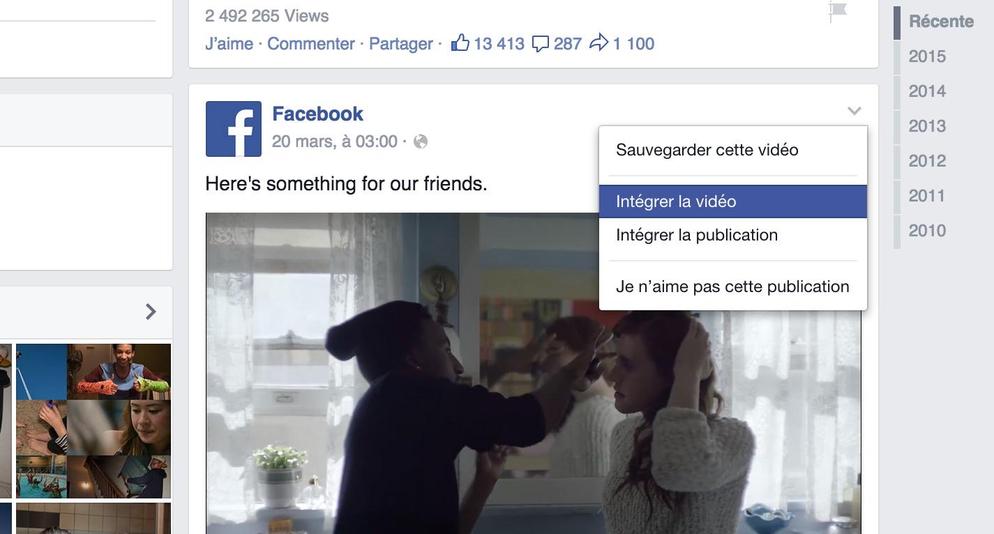 La fonction permettant d'intégrer une vidéo à l'extérieur de Facebook est maintenant accessible à partir de ce menu.