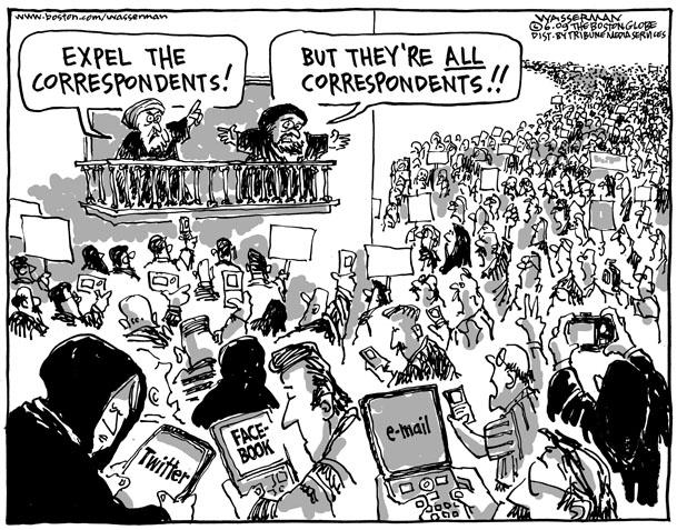 «Expulsez les journalistes!» «Mais ils sont tous journalistes!» (Image : Dan Wasserman).