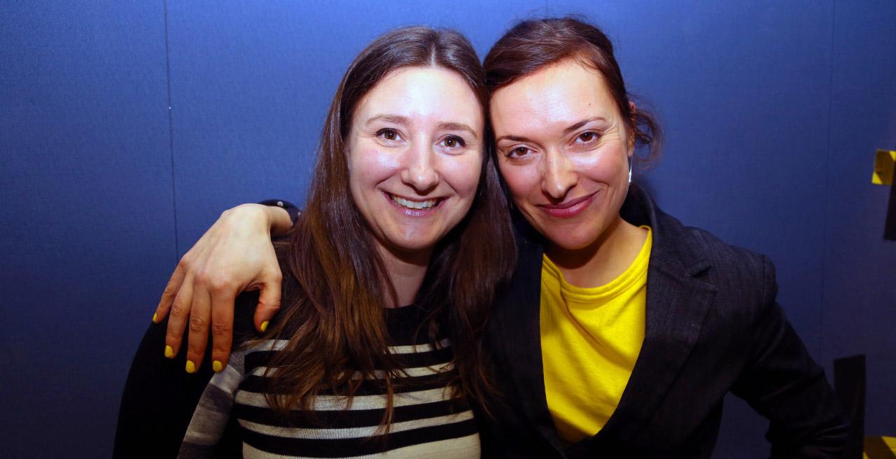 Catherine Mathys et Chloé Sondervorst, les porteuses de projets de la première vague d'idées qui sera accélérée par RC Lab (Photo : Radio-Canada).