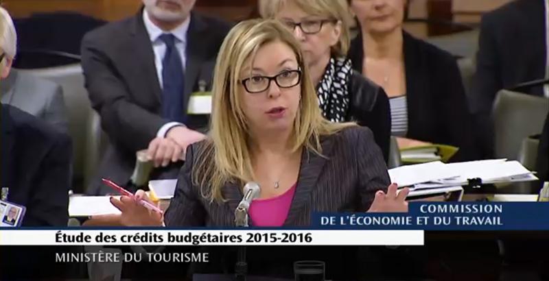 Dominique Vien, députée de Bellechasse et ministre du Tourisme (Image : Assemblée nationale du Québec).