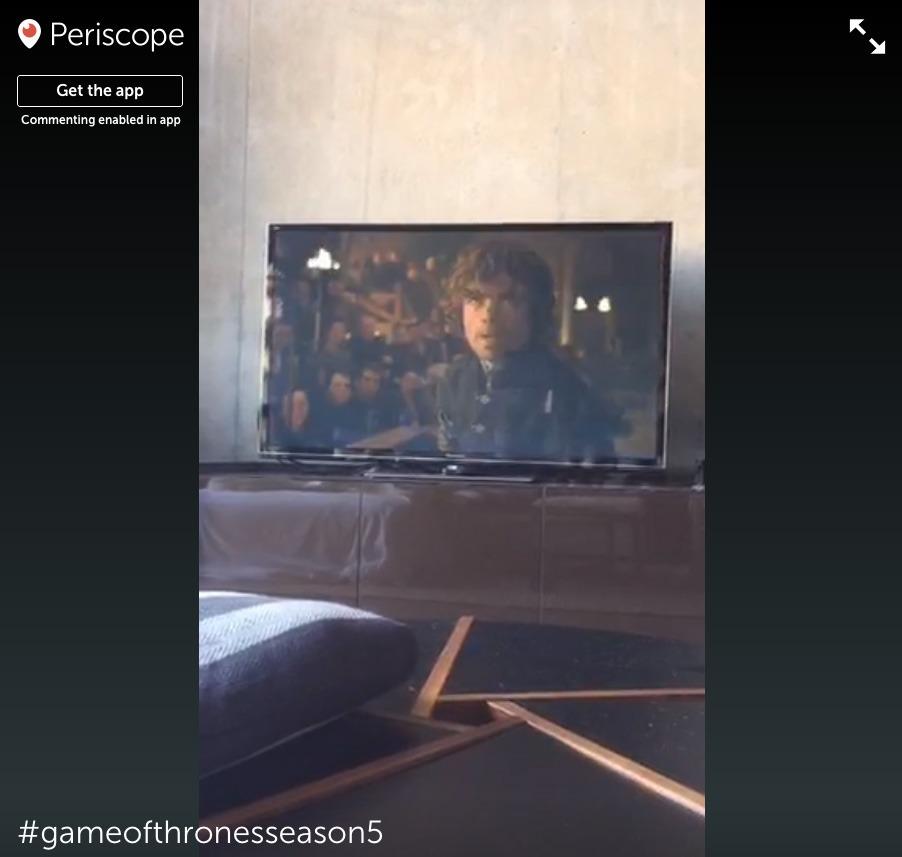 Un aperçu d'une diffusion de Game of Thrones sur Periscope. Disons que ce n'est pas de la haute définition…