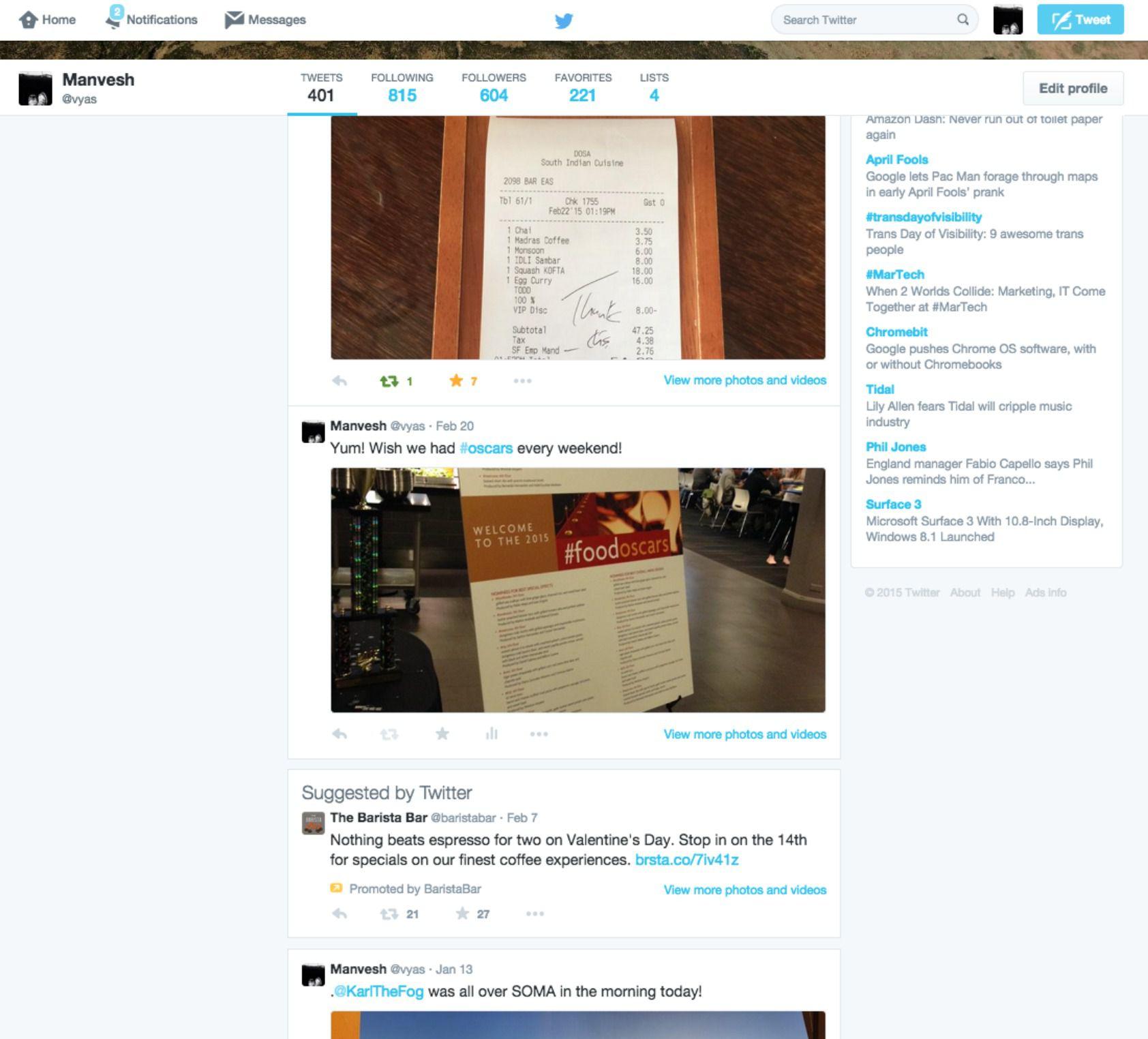 Un aperçu de l'affichage de publicité à même le profil personnel d'un utilisateur Twitter (Image : Recode).