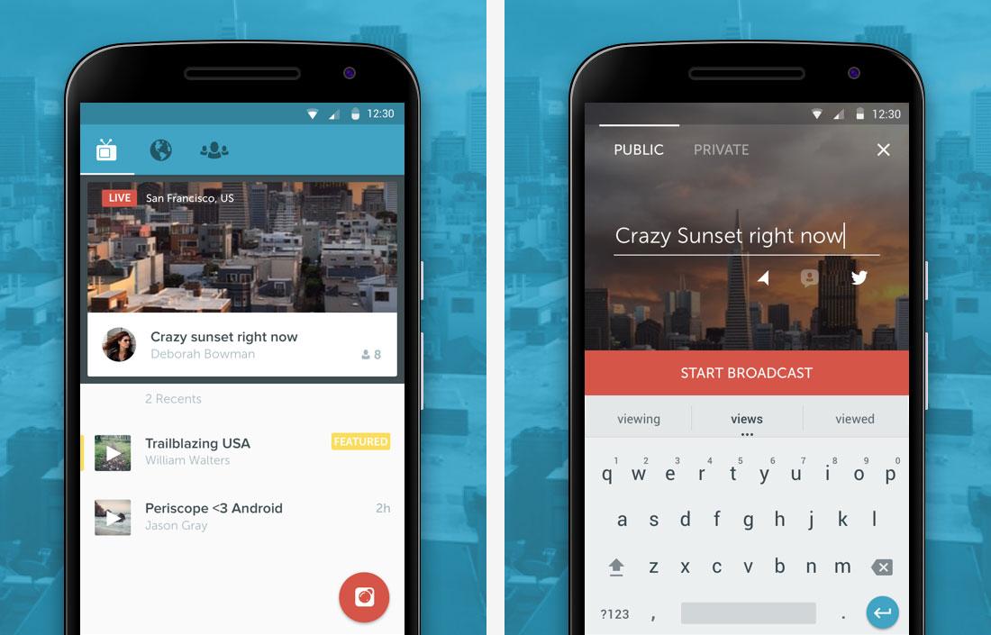 Un aperçu de Periscope sous Android.