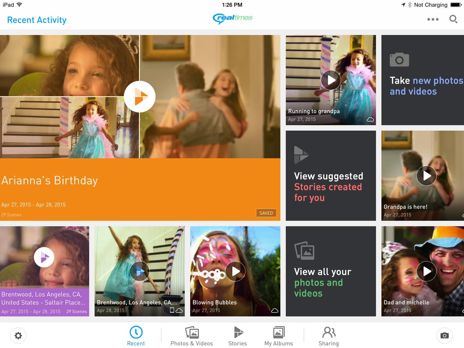 Un aperçu de RealTimes sur iPad.