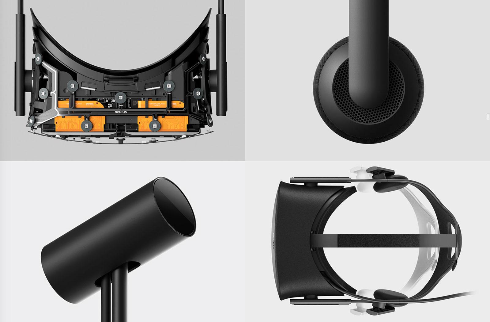 Les entrailles du casque, les écouteurs, le capteur de mouvement et les sangles permettant d'ajuster le Rift (Image : Oculus).