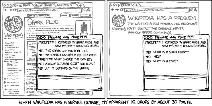 «Lorsque Wikipédia est hors service, mon quotient intellectuel baisse de 30 points» (Image : XKCD).