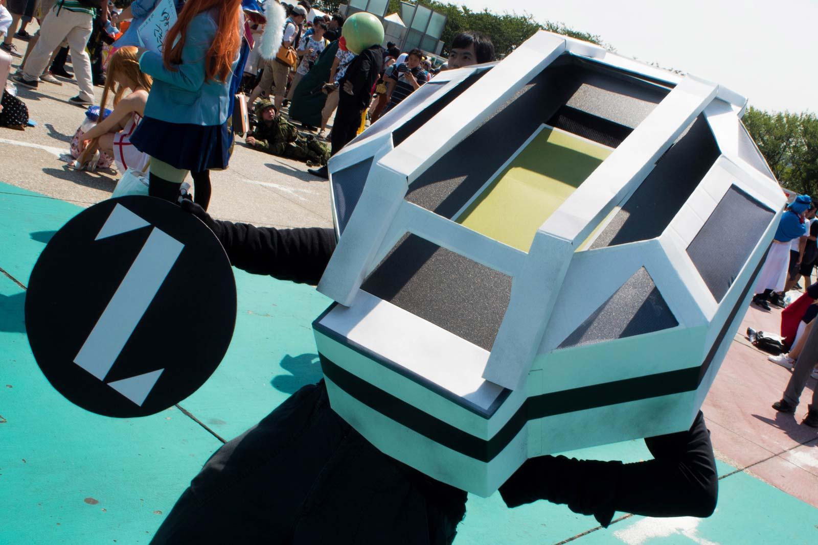 Un cosplayer s'est déguisé en modèle du stade olympique proposé pour les Jeux de 2020.