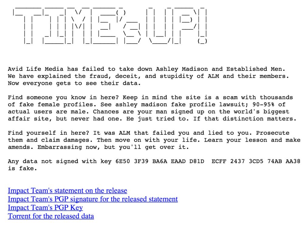 Le message d'accueil de The Impact Team inclut dans la fuite.