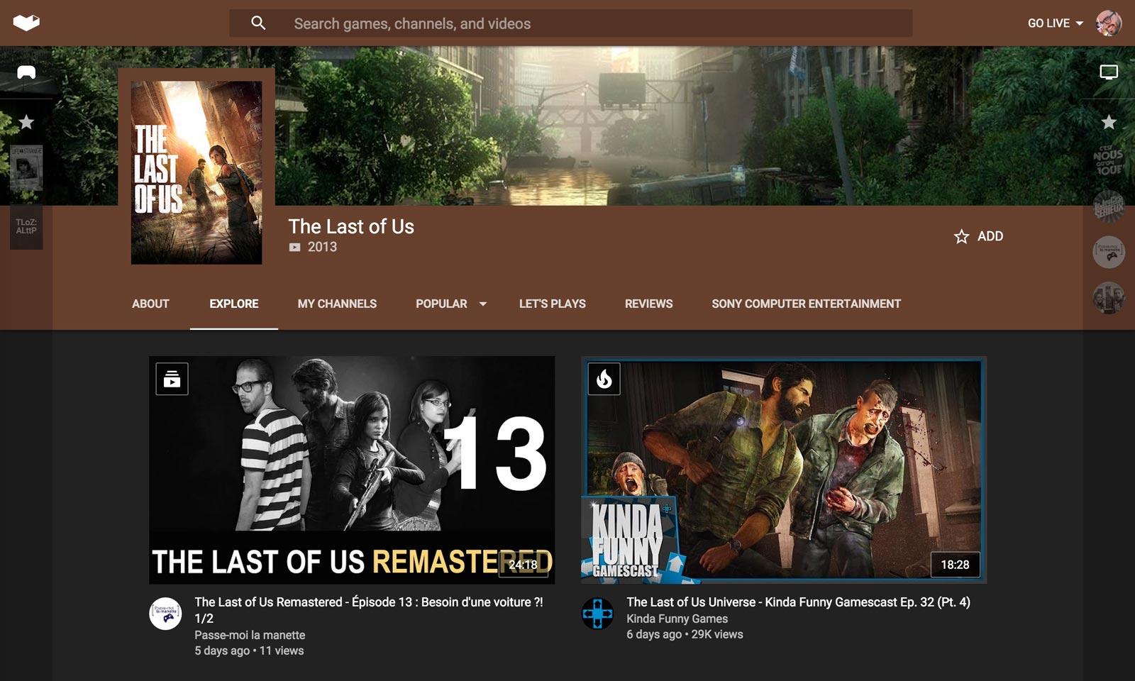 La page d'accueil du jeu The Last of Us.