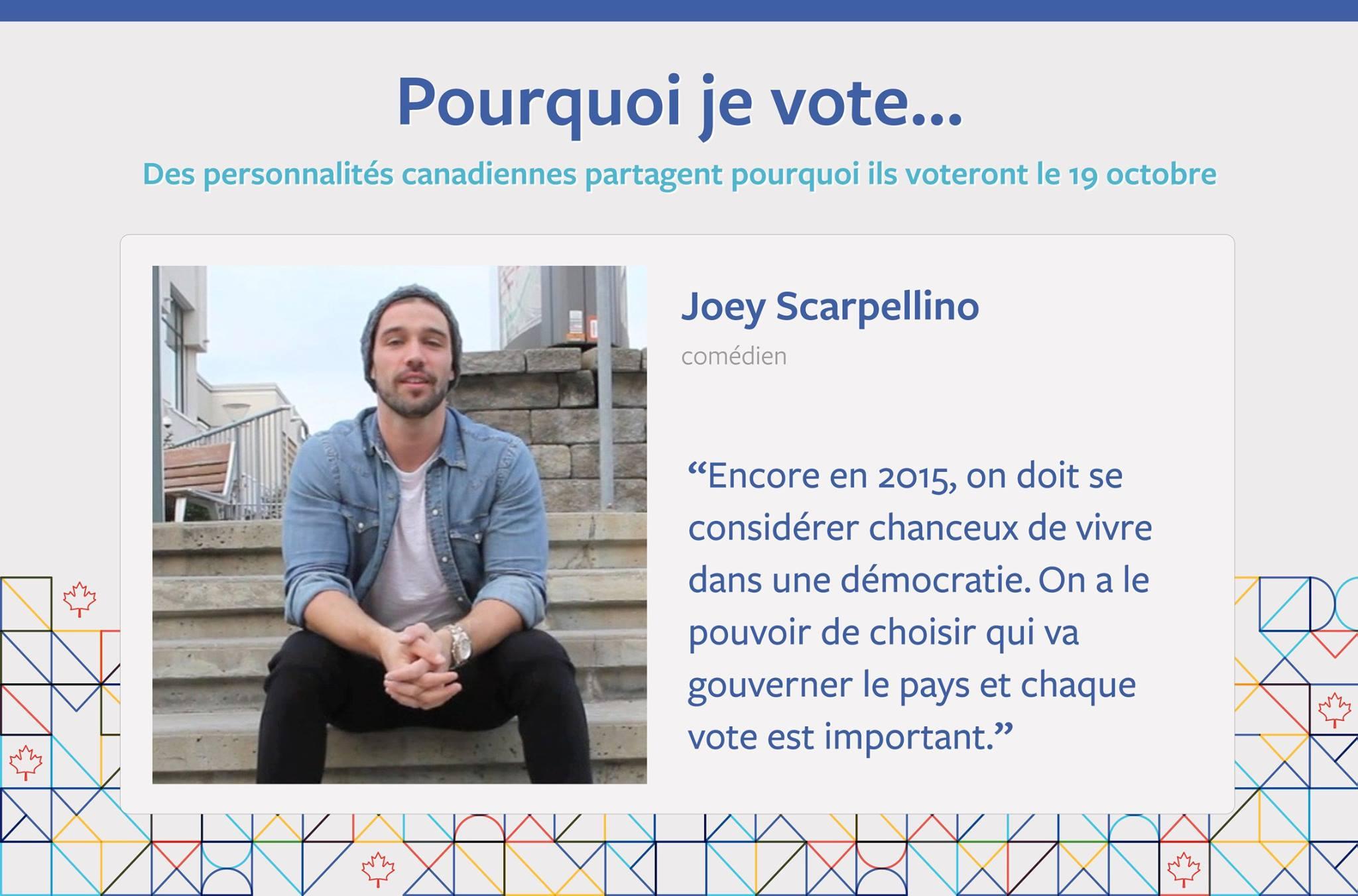 La raison pour laquelle Joey Scarpellino ira voter le 19 octobre prochain.