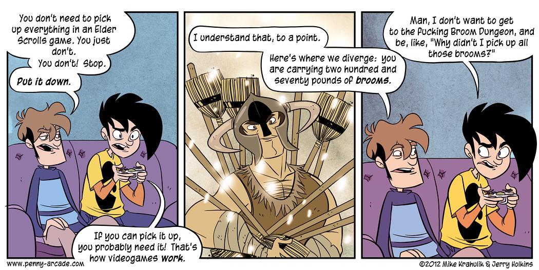 Dans Skyrim, vaut mieux ne pas ramasser tout ce que l'on voit (Image: Penny-Arcade).