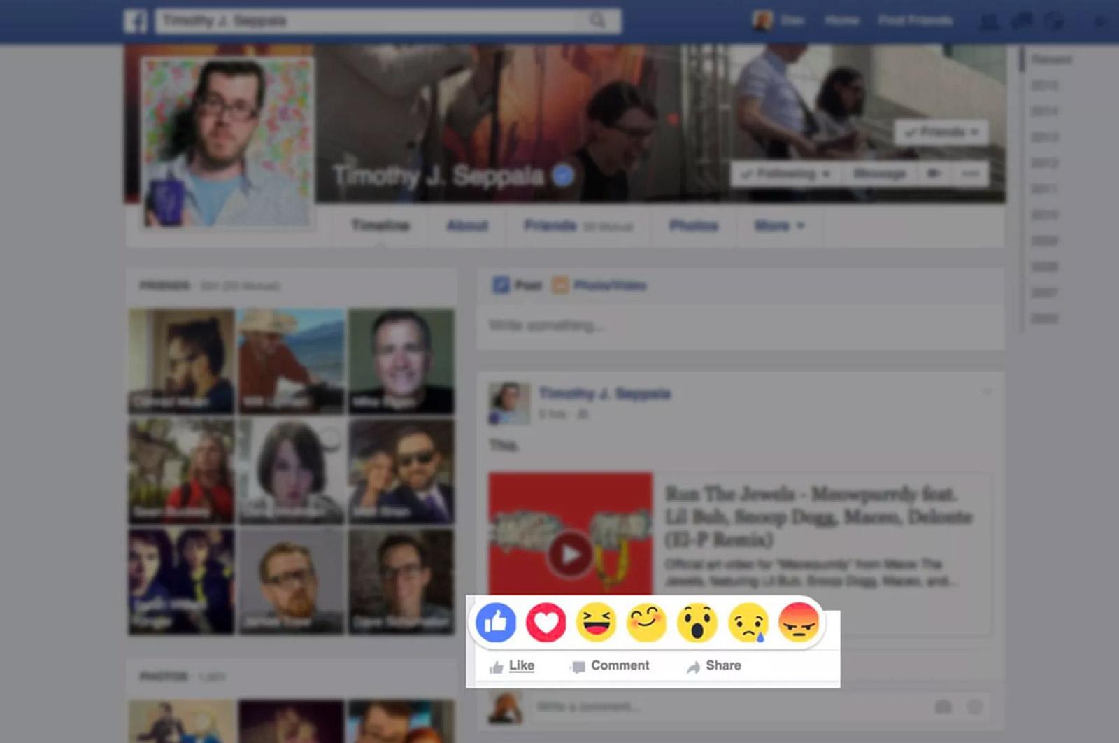 Ce à quoi pourrait ressembler les réactions sur Facebook (Image: Engadget ES).