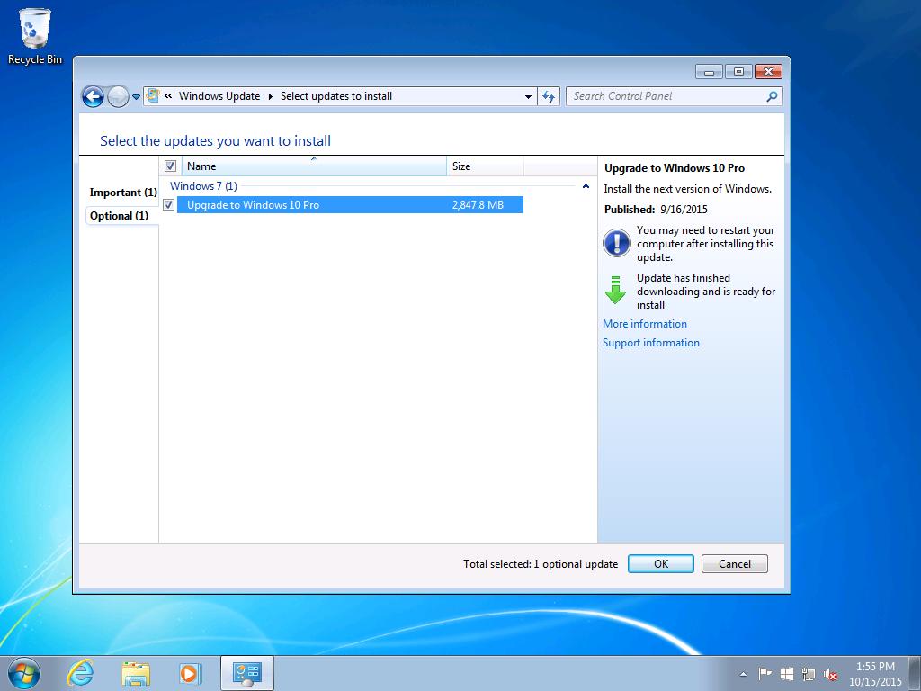 La fameuse case de la mise à niveau vers Windows10, cochée par défaut (Image: Ars Technica).