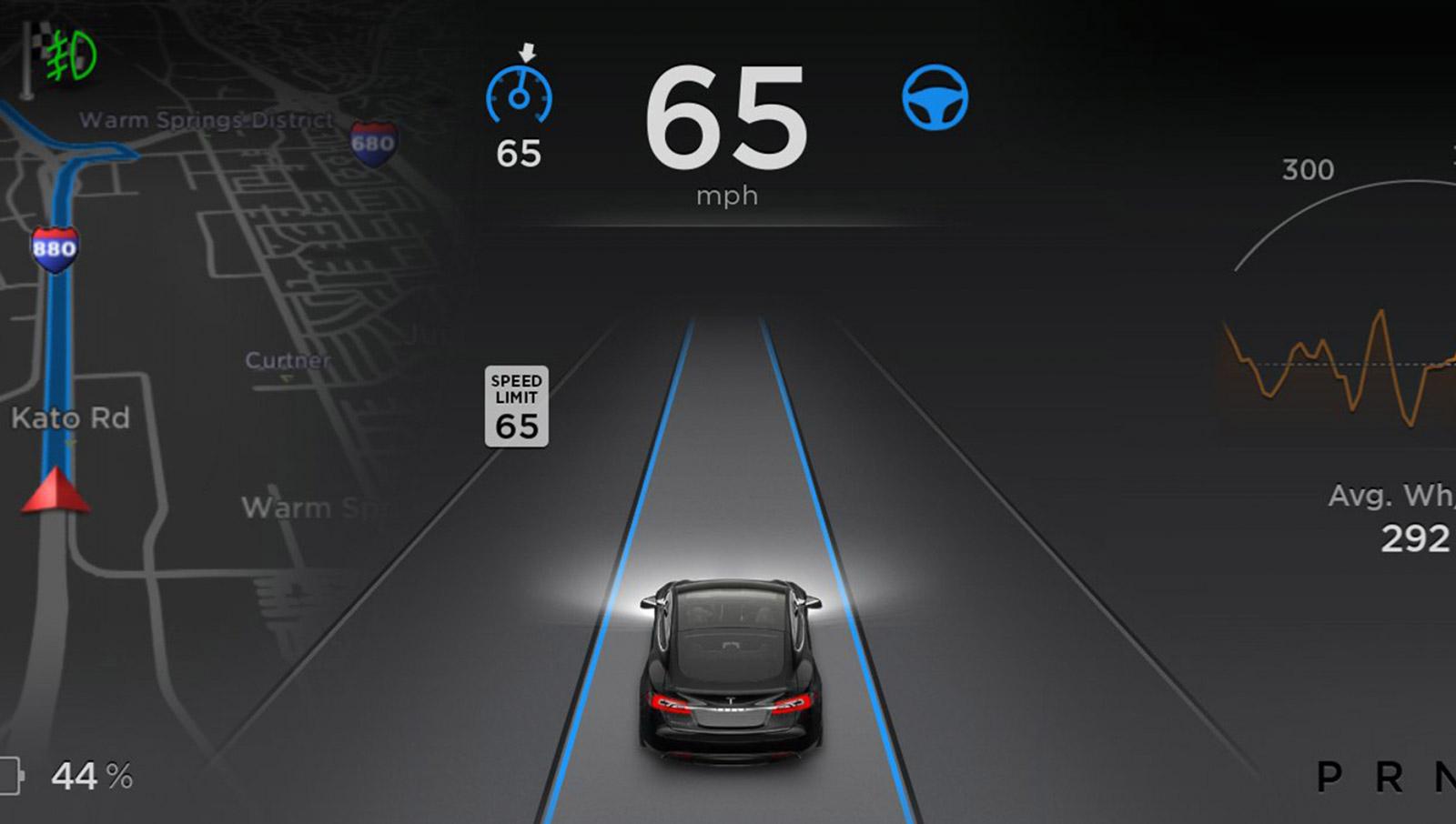Un aperçu de l'interface de la version 7.0 du logiciel de Tesla.
