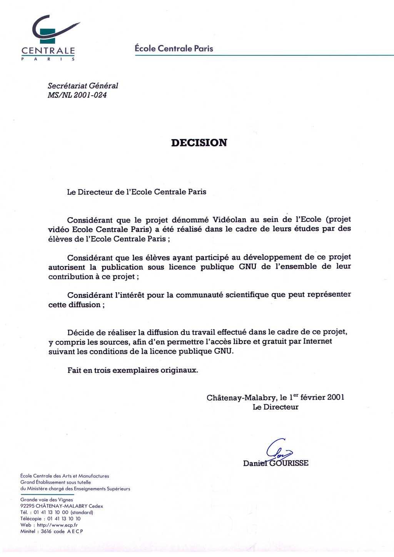 La lettre historique.