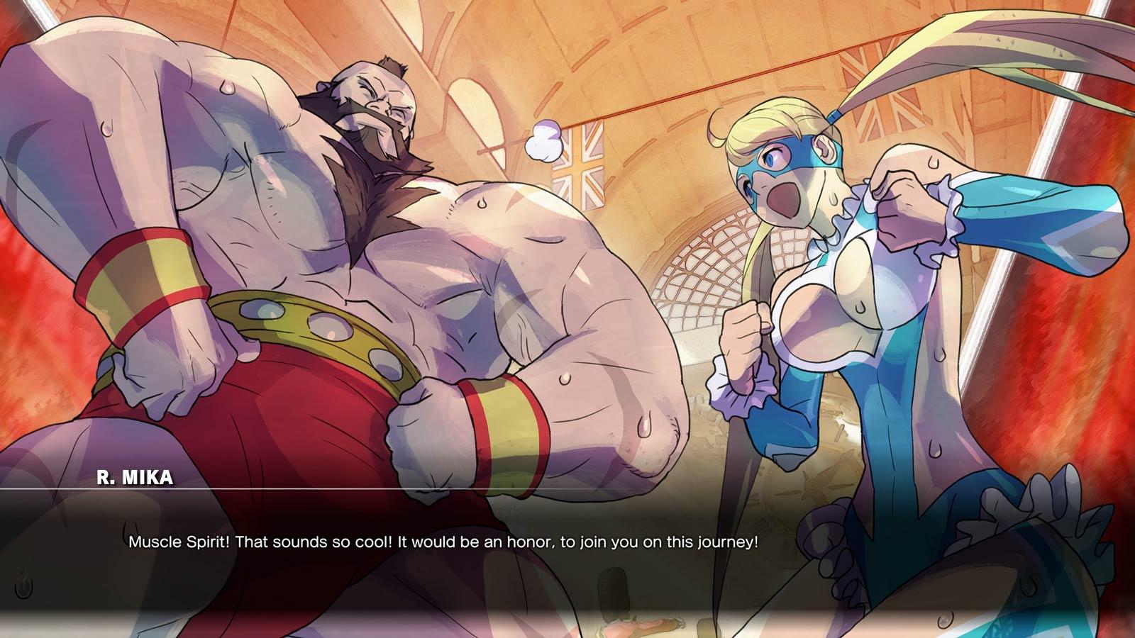 Dans le mode histoire, Mika est de loin de personnage qui tient en haute estime ses adversaires.
