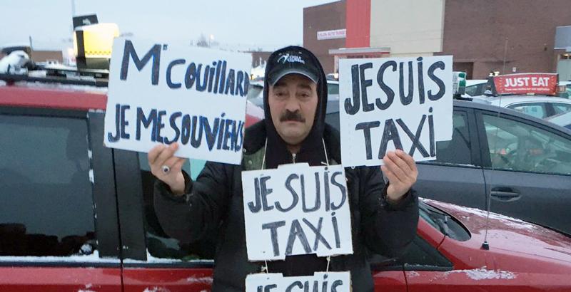 En février dernier, des chauffeurs de taxi ont perturbés l'aéroport Montréal-Trudeau (Photo: Pascal Robidas).