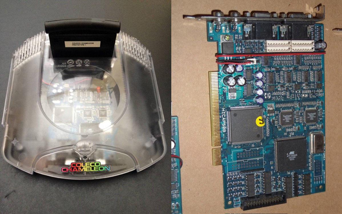 Le prototype de la Chameleon (gauche) et la carte de capture HIPCAP50B (droite).