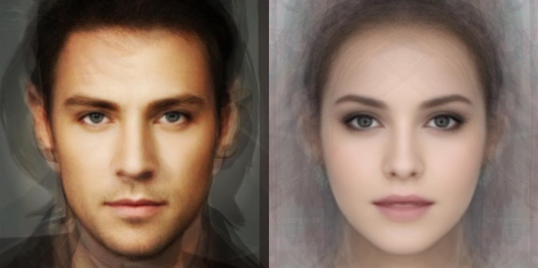 Les visages d'un homme et d'une femme composés de photographies de plusieurs personnes (Image: Jun'ichiro Seyama).