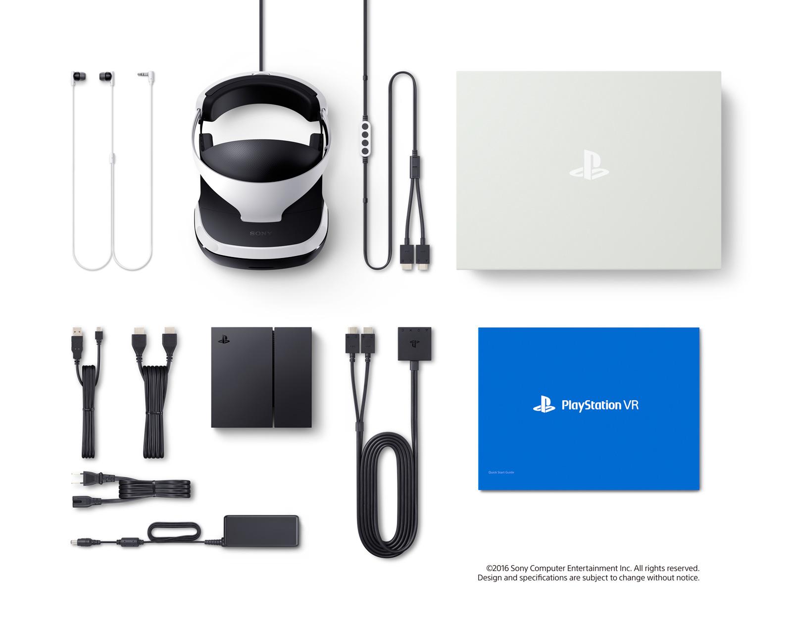 Voici ce qui est inclus avec le PlayStationVR. Les manettes PlayStationMove sont vendues séparément, mais leur utilisation est optionnelle: tous les jeux fonctionnent aussi avec la DualShock4.