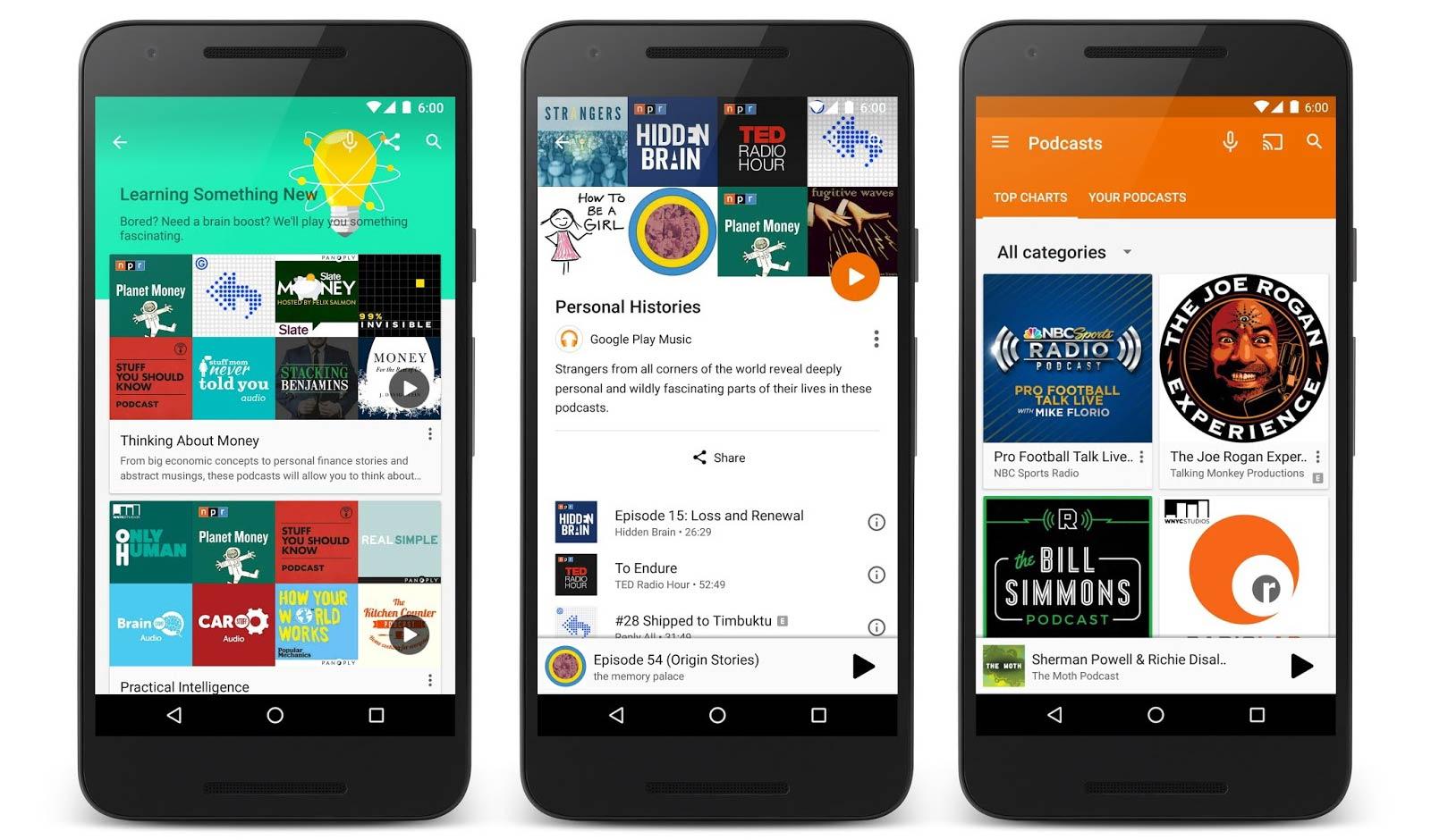 Les différents écrans liés à la section Balados de PlayMusique sous Android.