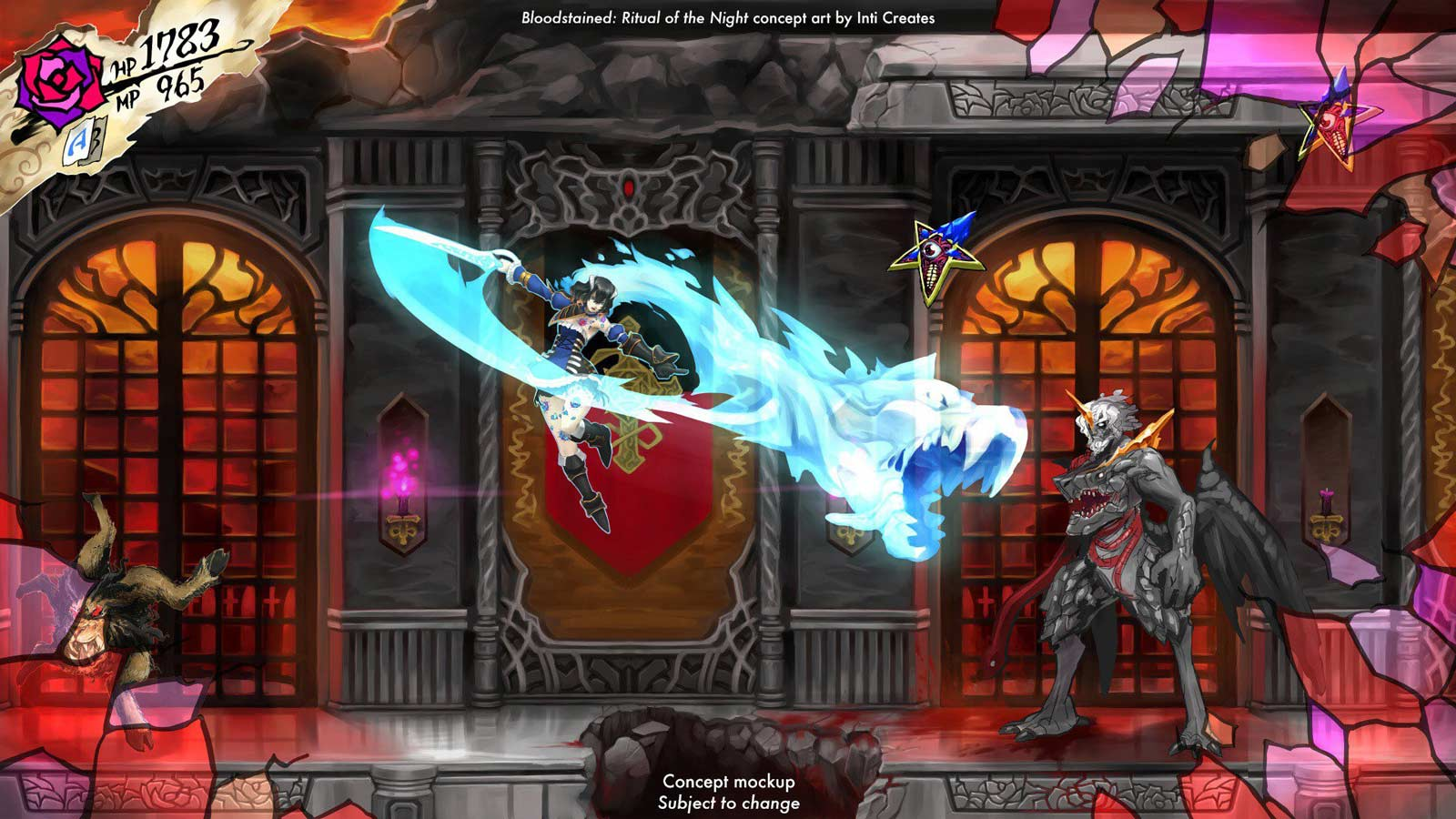 Une ébauche du jeu Bloodstained : Ritual of the Night.