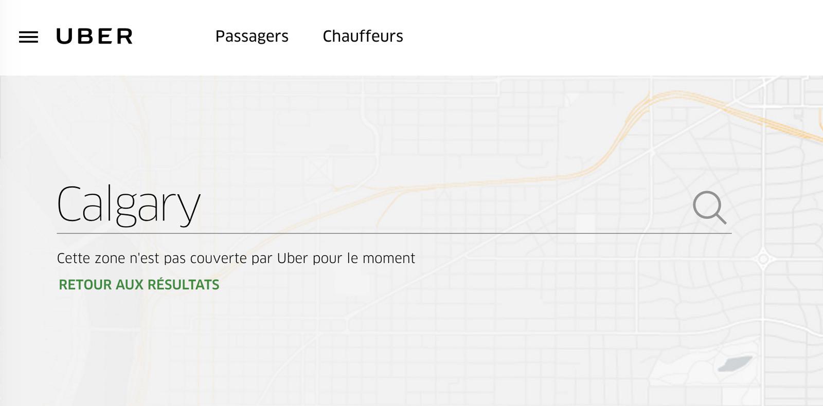 Devant une réglementation jugée excessive, Uber s'est retiré de la ville de Calgary en février dernier.