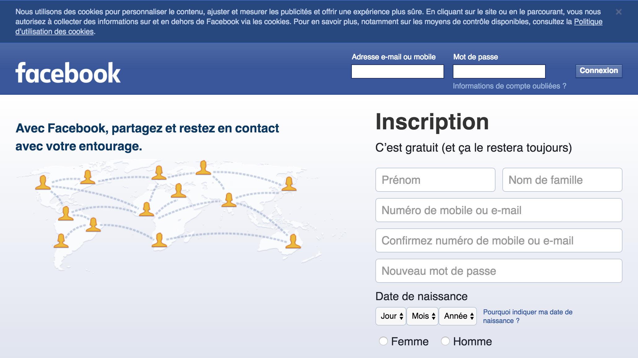 Le message informant les utilisateurs de l'emploi par Facebook de cookies.