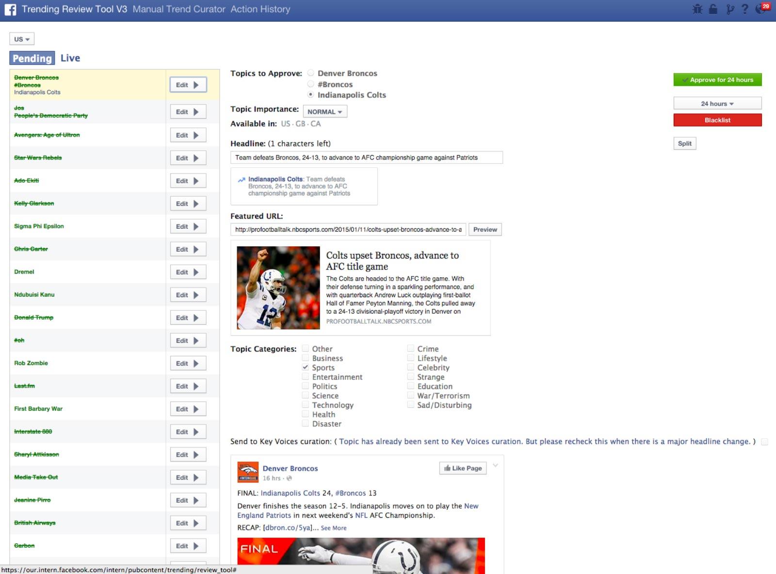 La capture d'écran du Review Tool, dont la largeur a été modifiée pour en faciliter la consultation.