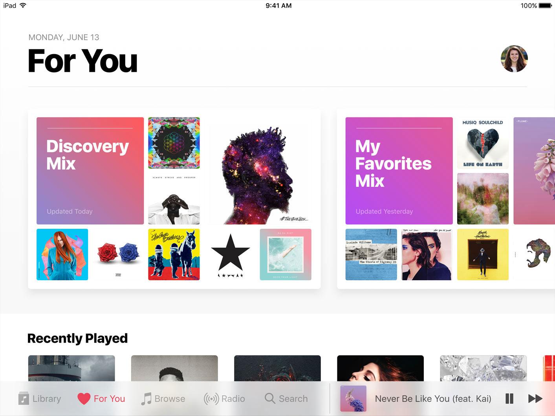 La nouvelle interface de l'application Musique.