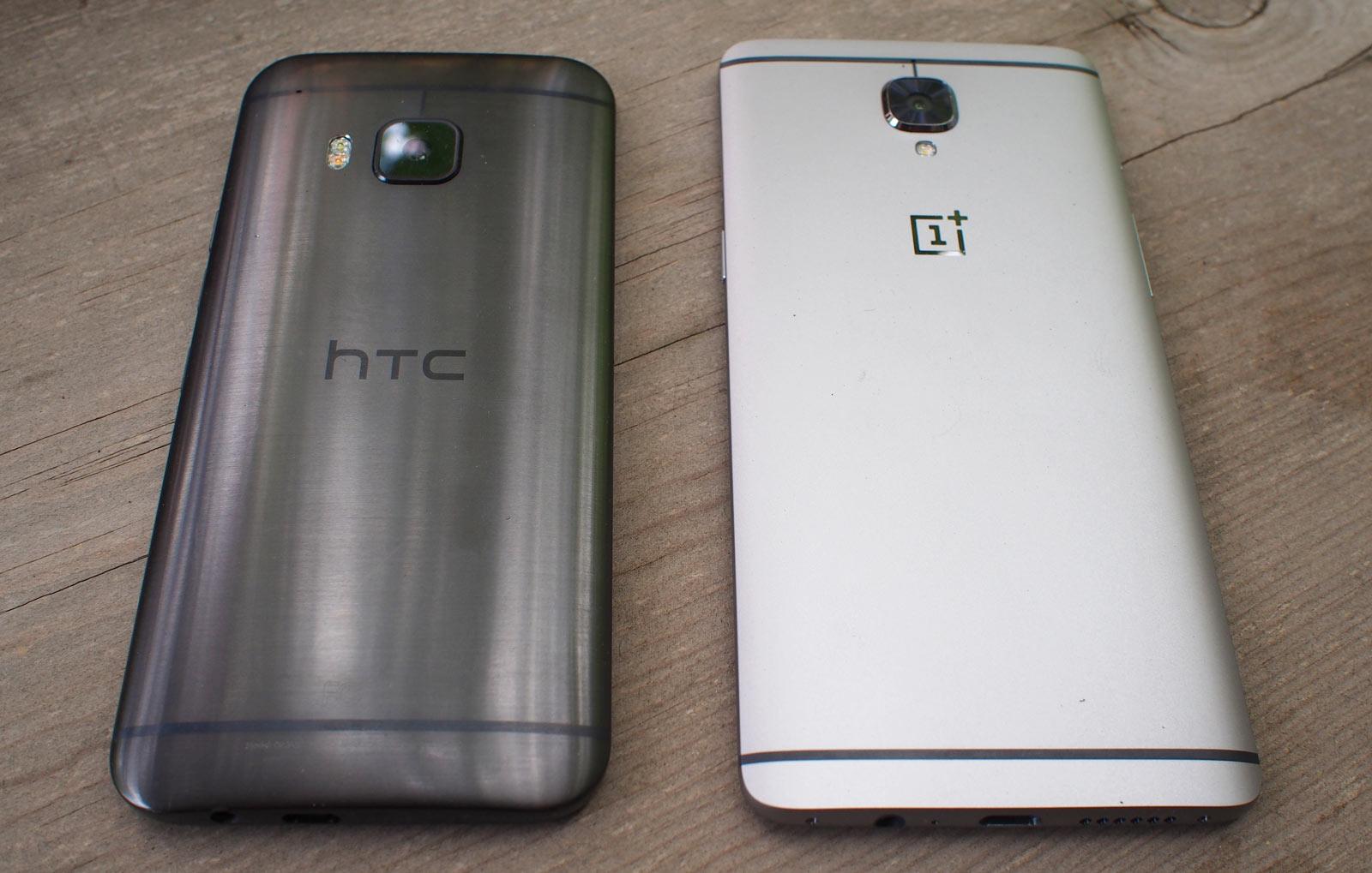 Le HTCOneM9 aux côtés du OnePlus3.