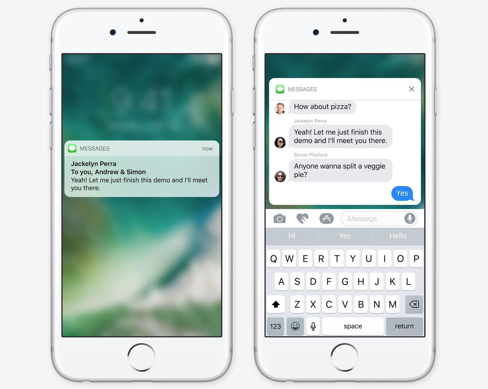Un aperçu des notifications enrichies d'iOS 10.