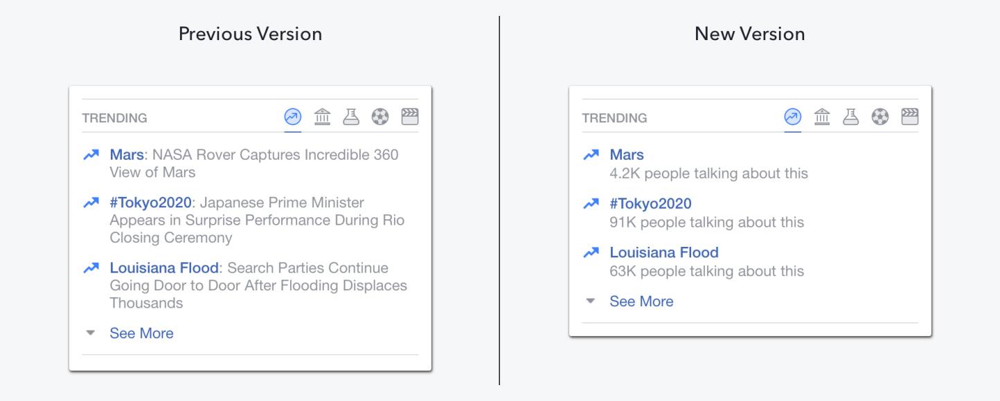 L'ancienne version du module Trending (à gauche), et la nouvelle version (à droite).