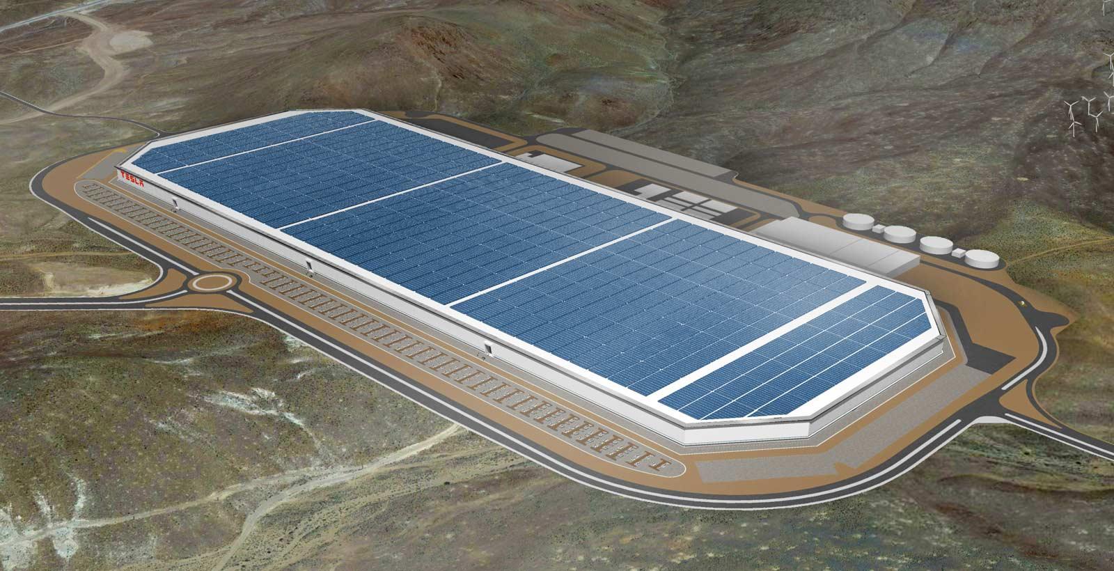 Modélisation 3D de l'usine Gigafactory de Tesla.