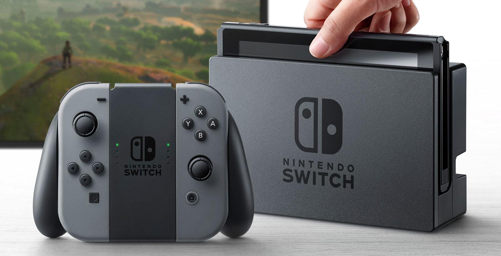 L'ensemble complet de la Nintendo Switch. Tout porte à croire que la manette conventionnelle (Switch Pro Controller) sera vendue séparément.