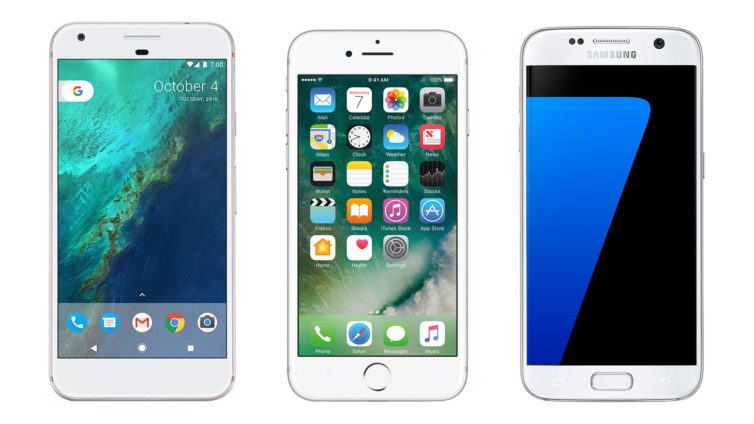 Comparatif du Pixel, de l'iPhone 7 et du Galaxy S7