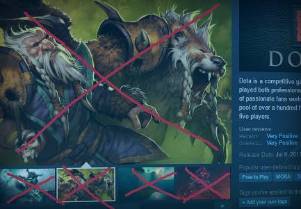 Steam prend l'exemple de DOTA2 pour montrer quoi ne pas faire.
