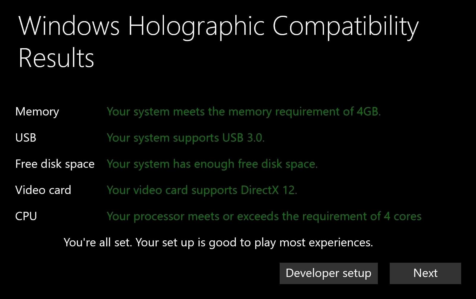 Les résultats de l'analyse d'un système par Windows Holographic First Run (Image : The Verge).