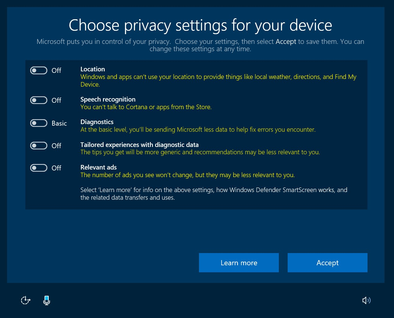 Les paramètres de confidentialité lorsque les options sont désactivées (Image: Microsoft).