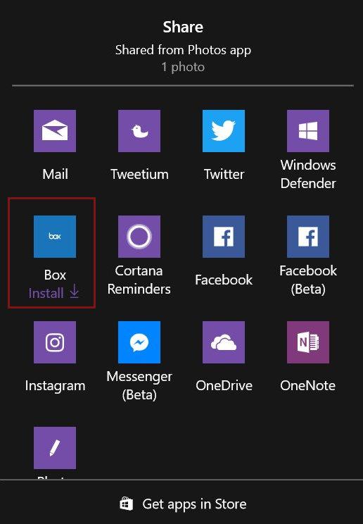 Windows 10 invite cet utilisateur à installer l'application Box (Image: Vitor Mikaelson).