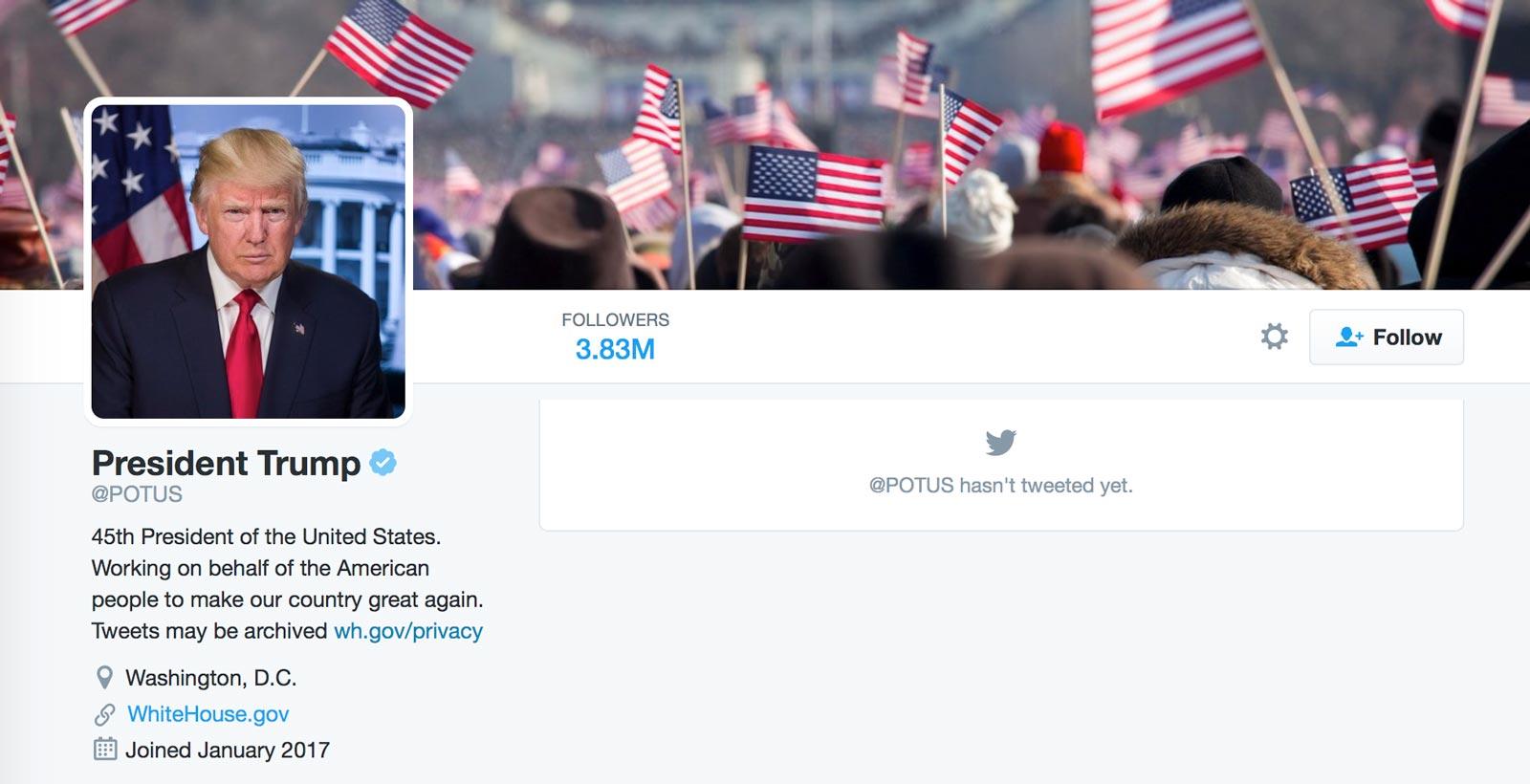 La page du nouveau compte @POTUS administré par le président Trump.