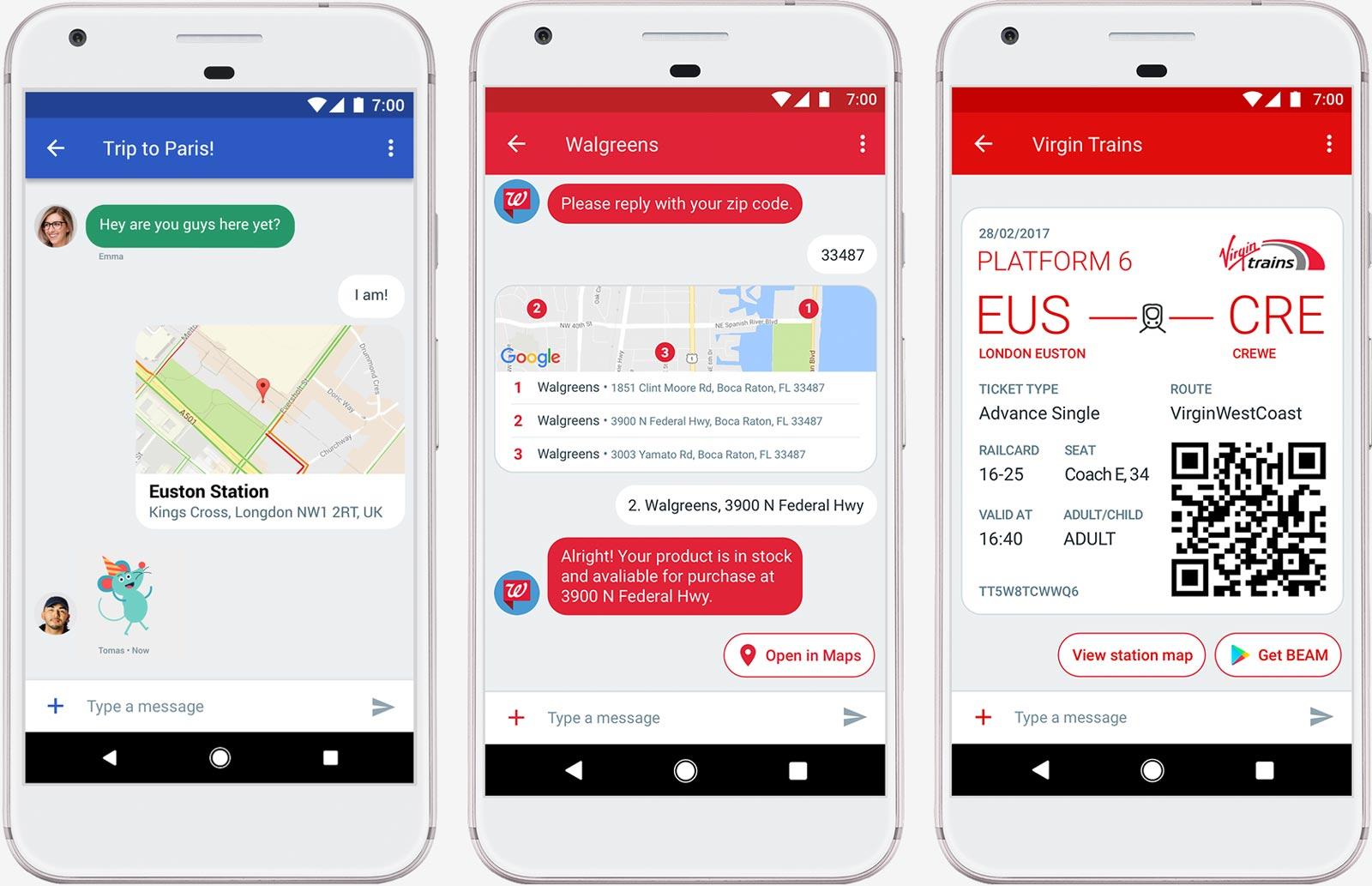 Un aperçu de messages RCS sous Android Messages.