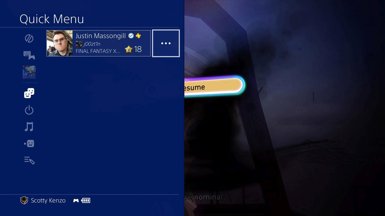 Le nouveau menu rapide est aminci, laissant plus de place à l'image du jeu en arrière-plan.