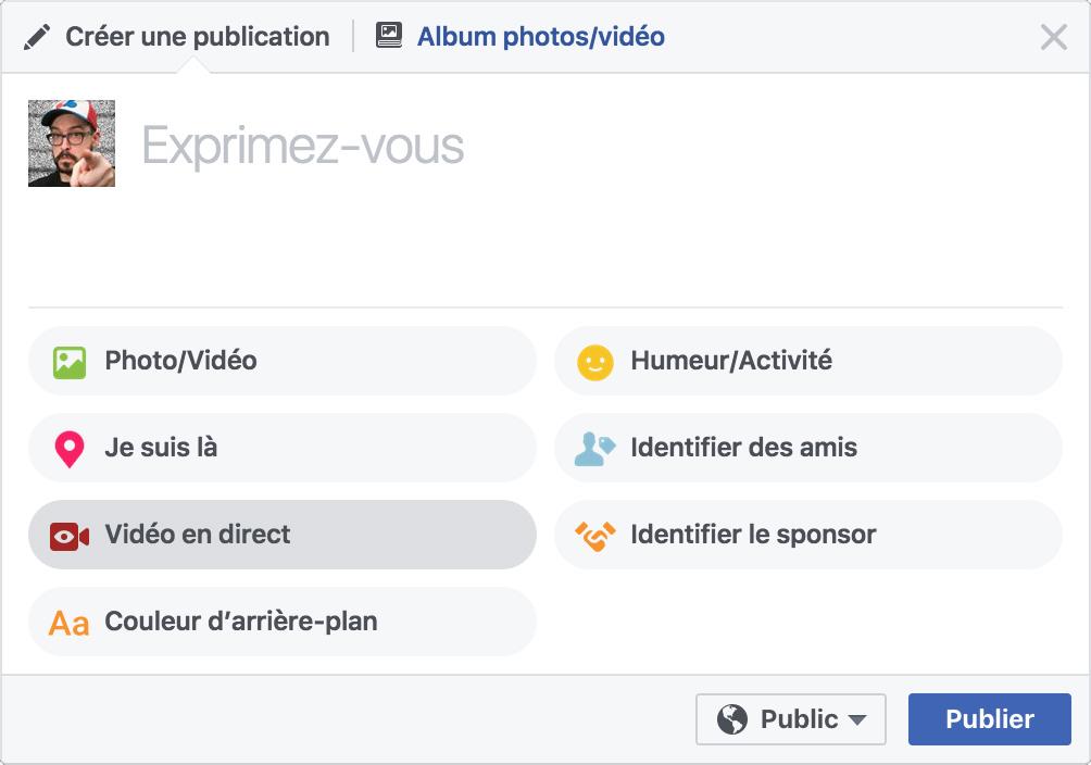Pour démarrer un Facebook Live à partir d'un navigateur, il suffit de cliquer sur le bouton Vidéo en direct.