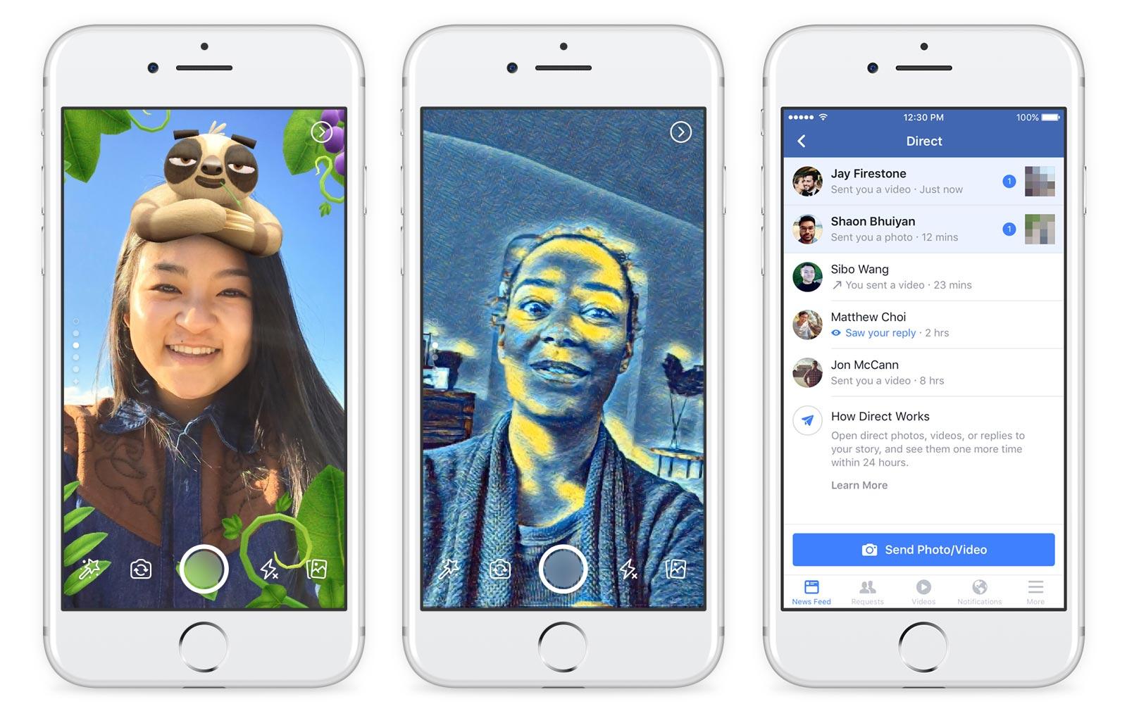 Un aperçu de quelques masques en action, et du nouvel outil de communication privée des Facebook Stories.